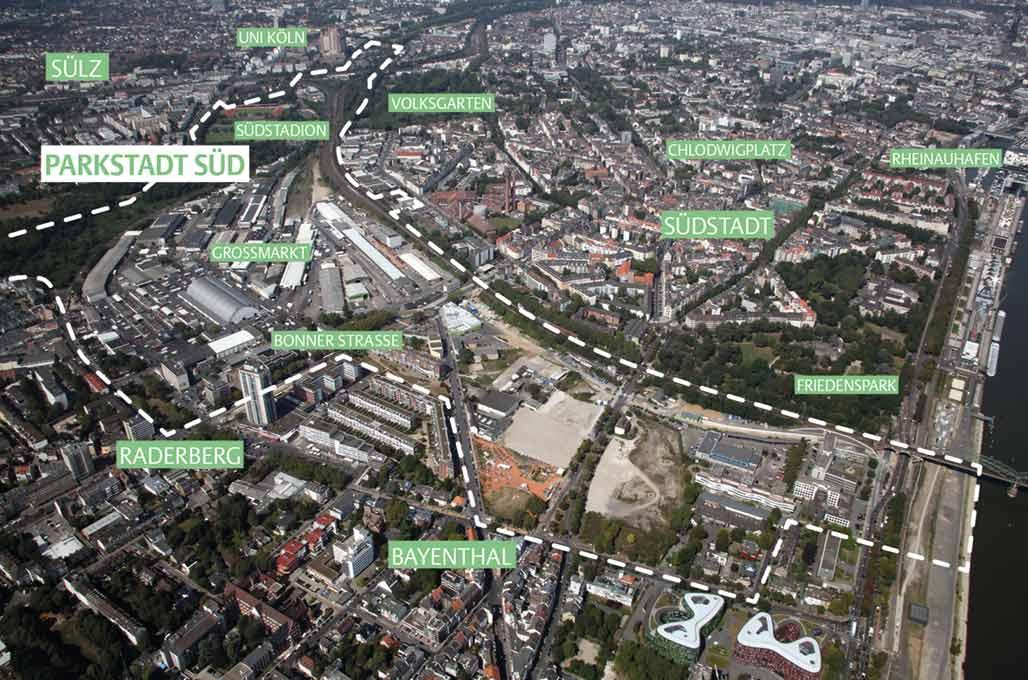 Luftaufnahme der Parkstadt Süd