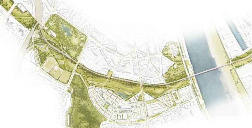 Der Siegerentwurf: Keine Bebauung am Bahndamm, ein kompakt-verdichtetes Quartier rund um die Markthalle.